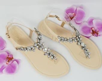 SALE Ivory Wedding Sandals with Crystal Gems Ivory Bridal Sandals  Destination Wedding Sandals Beach Wedding Sandals Beach Wedding Shoes
