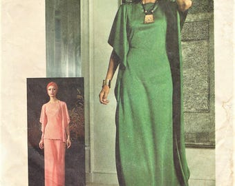 1970s Womens Knit Butterfly Wing Caftan or Tunic and Palazzo Pants Simplicity Sewing Pattern 7211 Size 12 Bust 34 Vintage Sewing Patterns