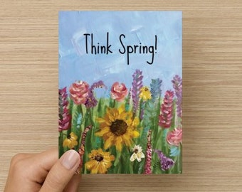 "Think Spring 5.59"" x 4.33"" Note Card"