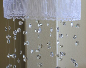 Crystal Mobile,  Lace baby mobile, Crystal Baby Mobile, White Mobile, Baby Mobile