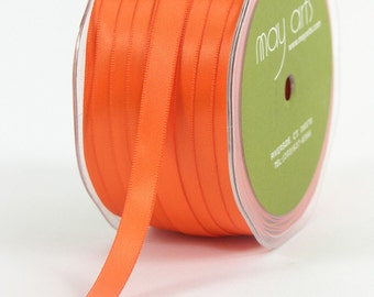 "3/8"" Double Faced Orange Satin Ribbon from May Arts - 10 Yards"