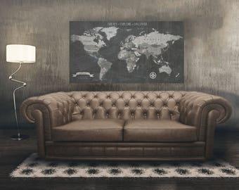 Push Pin Travel Map, World Travels Map, Map Art, World Map Canvas, Travel Map, Push Pin Map, Husband Gift, Boyfriend Gift, Map Wall Art