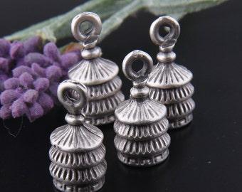Antique Silver Layered Cones, Bead Caps, Tassel Caps, Cord End Caps, 4 pieces // SF-088