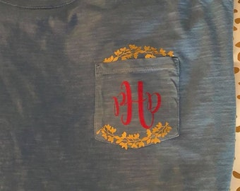Pocket Monogram With Laurel Wreath