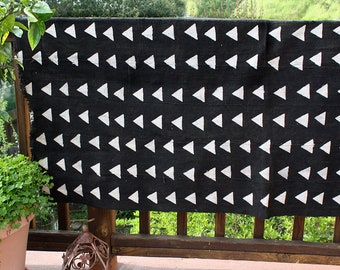 "Black Mud Cloth Throw, Handmade Fabric, Trendy Triangles   64"" x 40""  #320BMC"