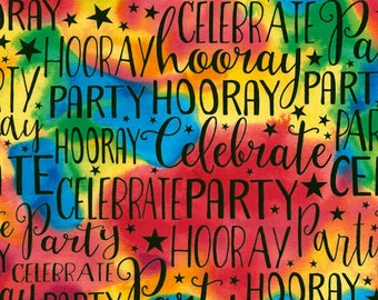 Party, Celebrate, Hooray, Tonal Bright Colors, Timeless Treasures , By Yard