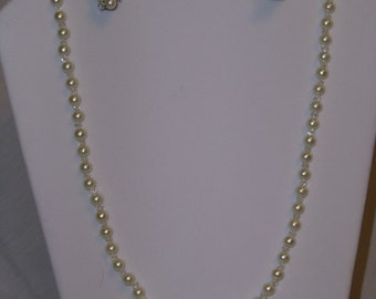 OOAK creamy glass pearl and crystal set - necklace & barretts