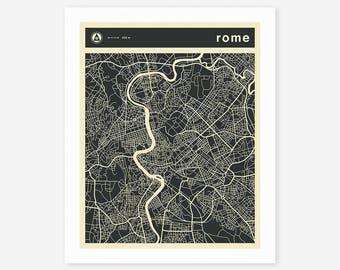 ROME MAP (Giclée Fine Art Print/Photo Print/Poster Print)