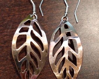 Copper Open Leaf Earrings
