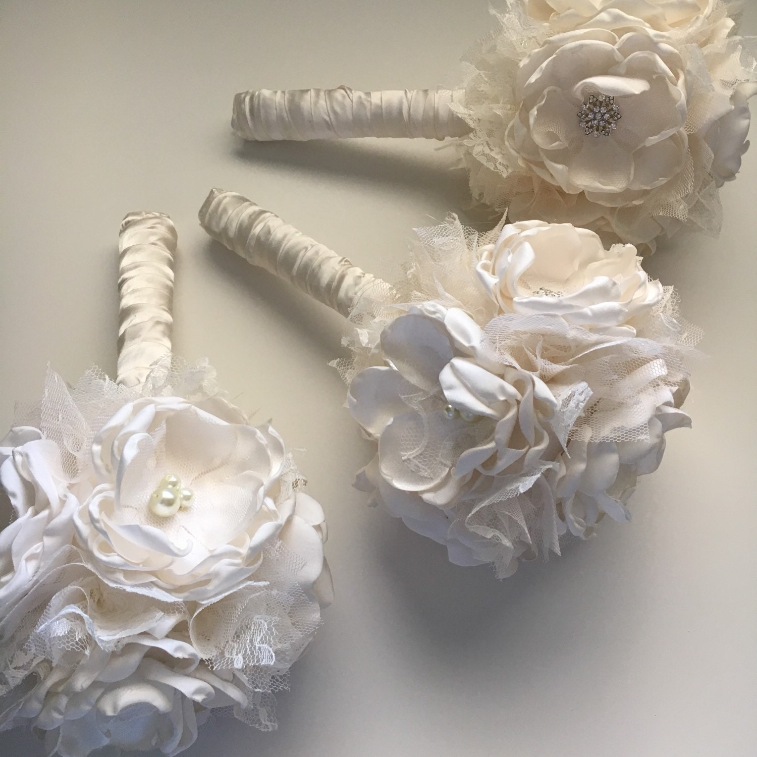 Small fabric flower bouquet bridesmaid bouquet six flower zoom izmirmasajfo Image collections