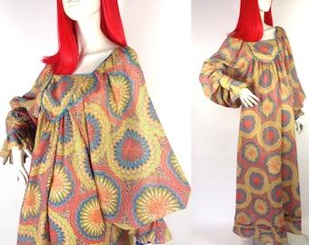 Vintage 60s Simon Ellis hippy dippy psychedelic maxi gown / festival dress / 70s / Acid trip / Woodstock