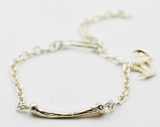 Silver Charm Bracelet   Chain Link Bracelet   Bone Charm Bracelet   Bat Charm   Gothic Bracelet   Silver Chain Link   Fish Hook Charm