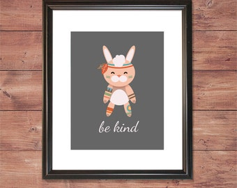 Hippie Animals - Bohemian Bunny - Be Kind - Wall Art - DIGITAL FILE ONLY
