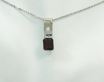 PENDANT 14K White Gold Garnet Rectangle with Cubic Zironiun accent PEN14KWGAR10X8RCZ