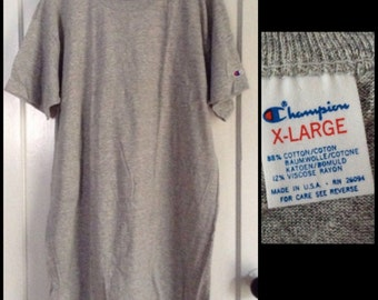 Vintage Deadstock 1980's Champion brand plain blank Heather Gray 88/12 cotton rayon T-shirt size XL 22x33 NOS made in USA