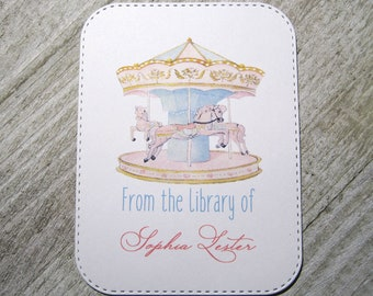 Carousel Personalized Bookplate - Set of 24 - Adhesive - Peal and stick - Large - Trending - Embossed Edge - From the library of - children