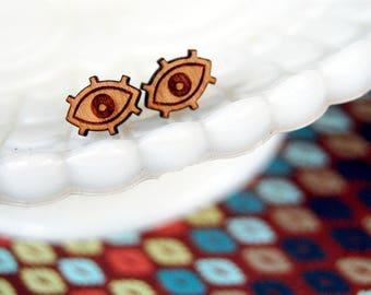 tiny eye wood post earrings- mystic style- protection
