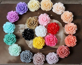 Limited discount Buy 1 Get 1 Free 44PCS Wholesale Beautiful Mix Colorful Rose Flower Resin Cabochon   -22colors-20mm(CAB-BS -MIXSS-1)