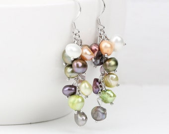 Multi color cluster pearl earrings,freshwater pearl cluster earrings,dangling pearl drop earrings,special pearl earrings,unique gifts