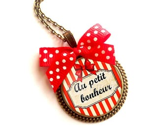 Necklace * little * red retro guinguette bow made with love