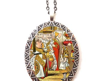 Alice in Wonderland Necklace Pendant Silver Tone - Queen of Hearts Lewis Carroll Book