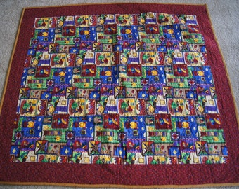 Home Sweet Home Rustic Yet Tribal Design - LAP QUILT – Maroon and Marigold