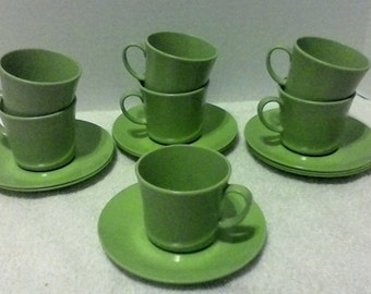 Texas ware apple green plastic cup & saucer