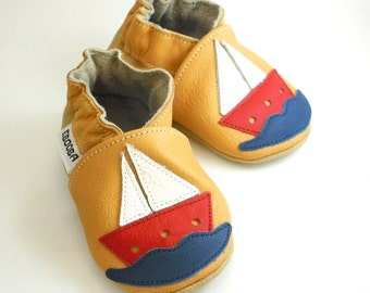 soft sole baby shoes handmade boy gift ship yellow red white 0 6 garcon cuir souple chaussons Krabbelschuhe Lederpuschen ebooba SH-9-Y-M