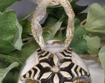Handmade Wheel Thrown Art Snowwflake Brown Cream White Blue Crystalline Glazed Porcelain Christmas Tree Ornament