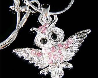 Pink Wisdom Wise Owl Teacher on the branch Swarovski Crystal Necklace