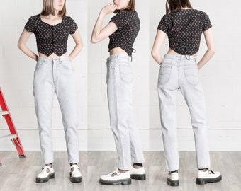HIGH WAIST JEANS acid wash grey black vintage Lee Mom Jeans 90S loose fit boyfriend jean women / Size 8 / 28 29 Inch Waist