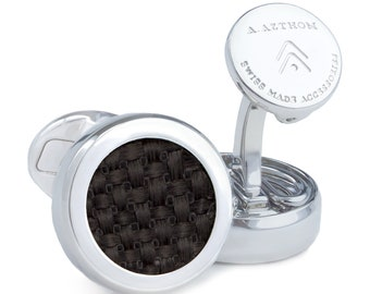 Carbon Fibre Button Cover Cufflinks