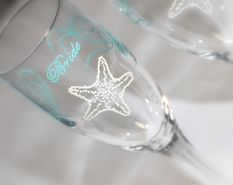 Beach Wedding Starfish Toasting Flutes Champagne Glasses Bride Groom Mr. Mrs. Personalized Dated Custom Aqua Teal Sea Glass Blue Ivory Beige