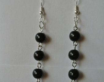 Long Black Beaded Earrings with Silver Fishhook