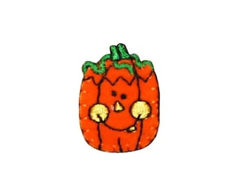 ID 0796A Happy Pumpkin Patch Halloween Jack O Lantern Embroidered Iron On Applique