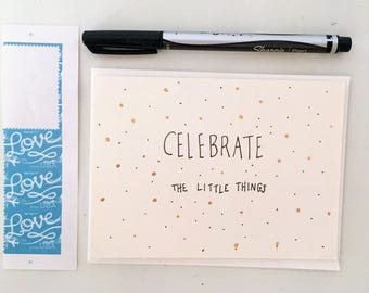 Celebrate Card / Blank Card / Birthday Card / Handmade Card / Greeting Cards / Greeting Card / Any Occasion Card / Watercolor Card