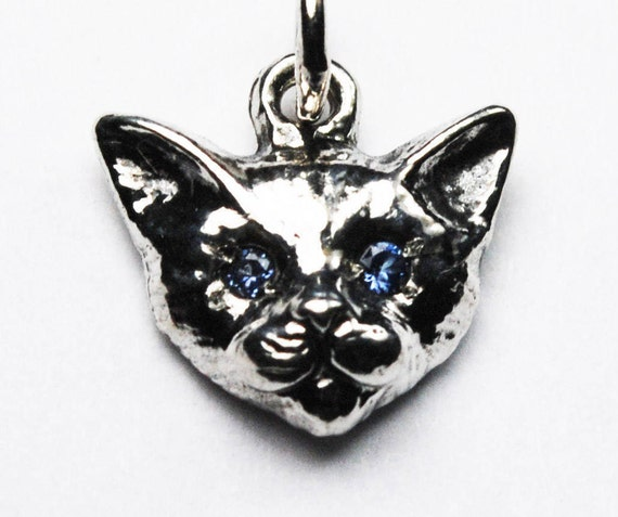 Sterling Silver Kitty Cat Charm with Blue Sapphire or Blue Spinel Eyes