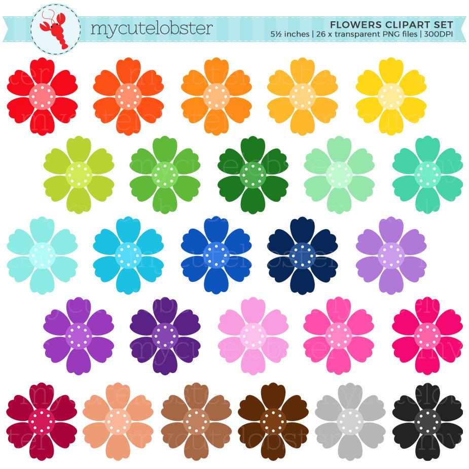 Rainbow Flowers Clipart Set - flower clip art, floral ... Colorful Flowers Clipart