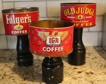 Red Vintage Farmhouse Coffee Cans on Wooden Pedestals - Choose from three - IGA, Old Judge, or Folger's