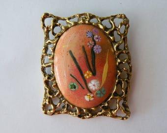 On Sale Originals by Agnes metal, copper, enamel brooch - pendant. Handmade.