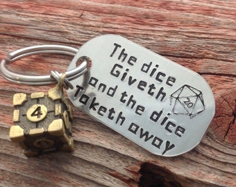 Dice, D & D, The Big Bang Theory inspired keychain