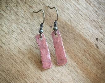 Hammered Copper Earrings, Handmade