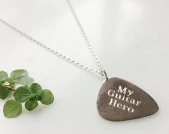 Personalised Guitar Pick Necklace - Personalised Plectrum necklace- Silver Guitar Pick Necklace - Guitar Pick Necklace - Plectrum Necklace