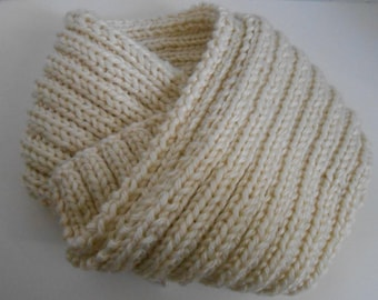 Off White Scarf Hand Knit Extra Long, Knitted Scarves Winter White