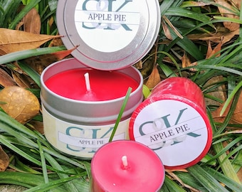 Soy Candle | Apple Pie | 8 oz Tin | Handmade | Hand Poured | Cruelty Free | Red Candles | Clean Scent | Gift Ideas