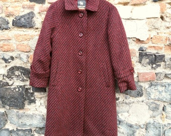 Woolen coat Burgundy and black 60's