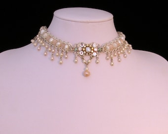 Bride Choker Wedding Necklace Bridal Pearl Choker Bridal Necklace Vintage Style Victorian Wedding OOAK Wedding Necklace Pearls Rhinestone