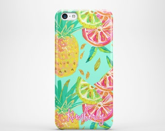Tropical iPhone 5c case, Pineapple turquoise pink yellow, Back to school gift For 4/4s 5/5s 6/6s 7 8 5c SE and Plus phone covers (1790)