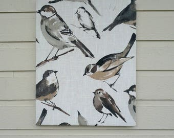 Bird Watcher Charcoal Grey Linen Pin Board in beautiful shades of taupe, white, grey and black made from a high grade upholstery fabric