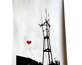 San Francisco Sutro Tower Cotton Floursack Tea Towel